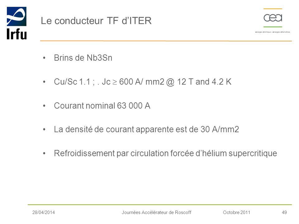 Octobre 201149Journées Accélérateur de Roscoff Brins de Nb3Sn Cu/Sc 1.1 ;. Jc 600 A/ mm2 @ 12 T and 4.2 K Courant nominal 63 000 A La densité de coura