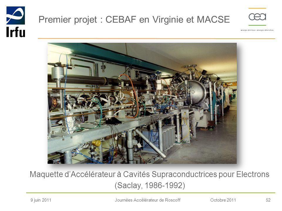 Octobre 201152Journées Accélérateur de Roscoff Premier projet : CEBAF en Virginie et MACSE 9 juin 2011 Maquette dAccélérateur à Cavités Supraconductri