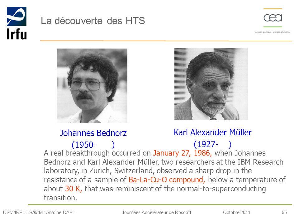 Octobre 201155Journées Accélérateur de Roscoff La découverte des HTS 55DSM/IRFU - SACM : Antoine DAËL A real breakthrough occurred on January 27, 1986