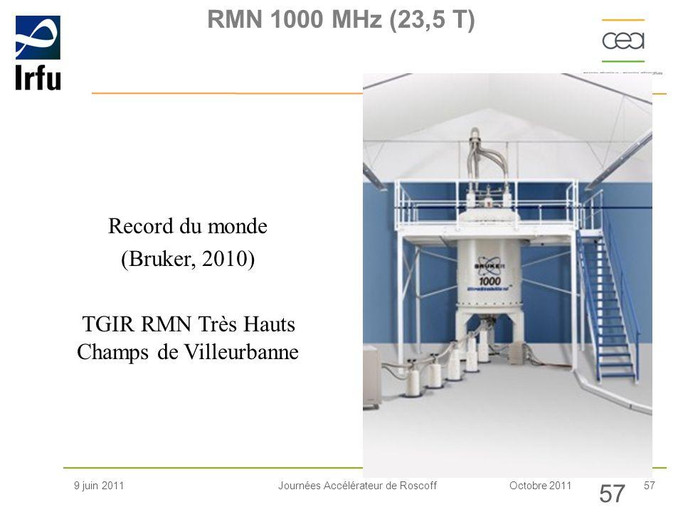 Octobre 201157Journées Accélérateur de Roscoff Record du monde (Bruker, 2010) TGIR RMN Très Hauts Champs de Villeurbanne RMN 1000 MHz (23,5 T) 9 juin