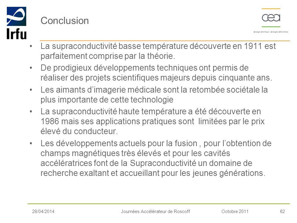 Octobre 201162Journées Accélérateur de Roscoff28/04/2014 Conclusion La supraconductivité basse température découverte en 1911 est parfaitement compris