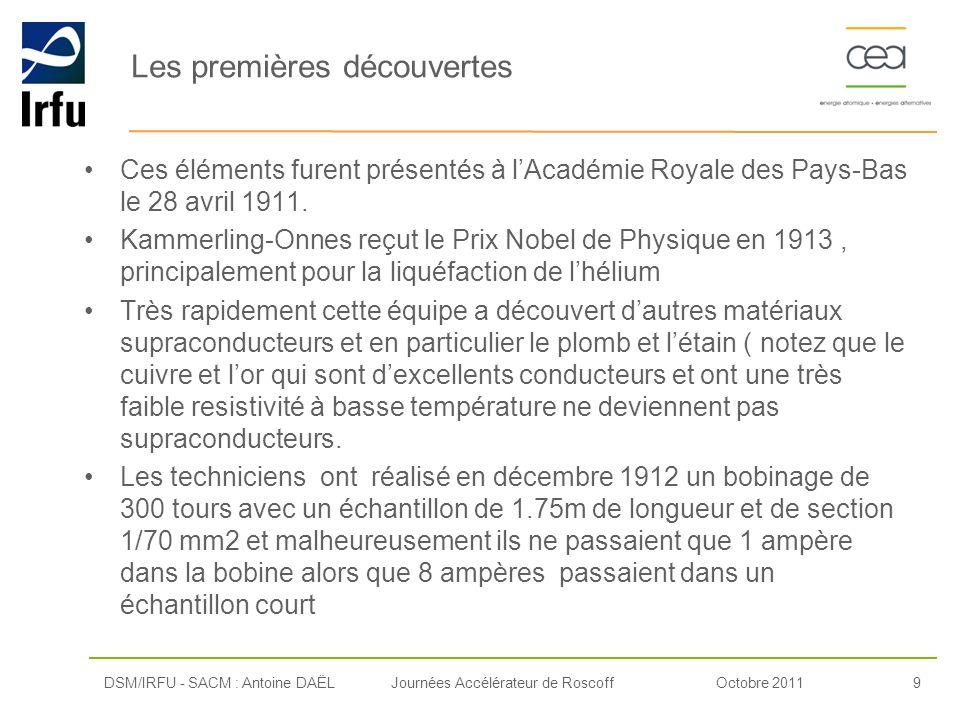 Octobre 20119Journées Accélérateur de Roscoff Les premières découvertes Ces éléments furent présentés à lAcadémie Royale des Pays-Bas le 28 avril 1911