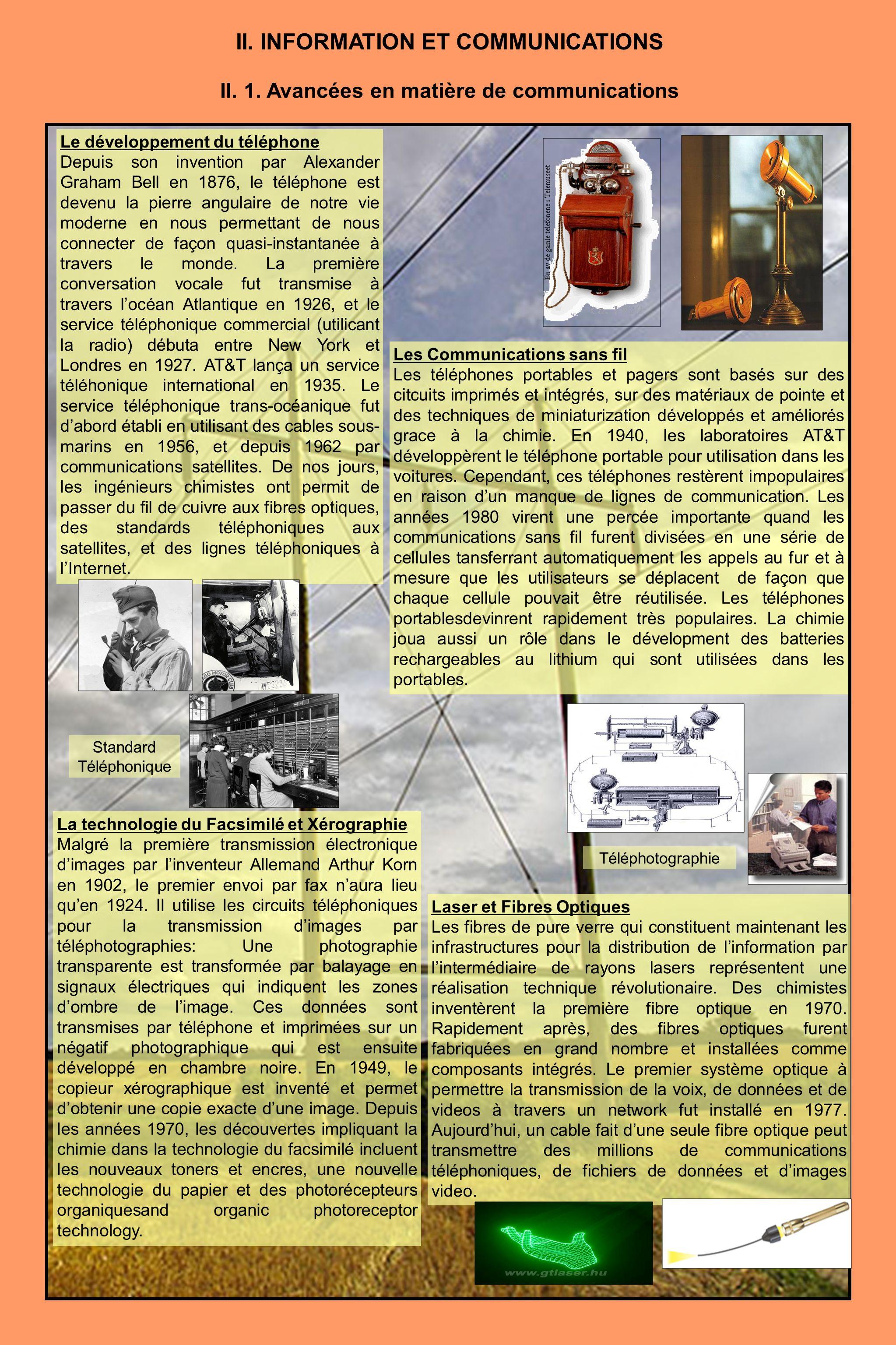 II. 1. Avancées en matière de communications Le développement du téléphone Depuis son invention par Alexander Graham Bell en 1876, le téléphone est de