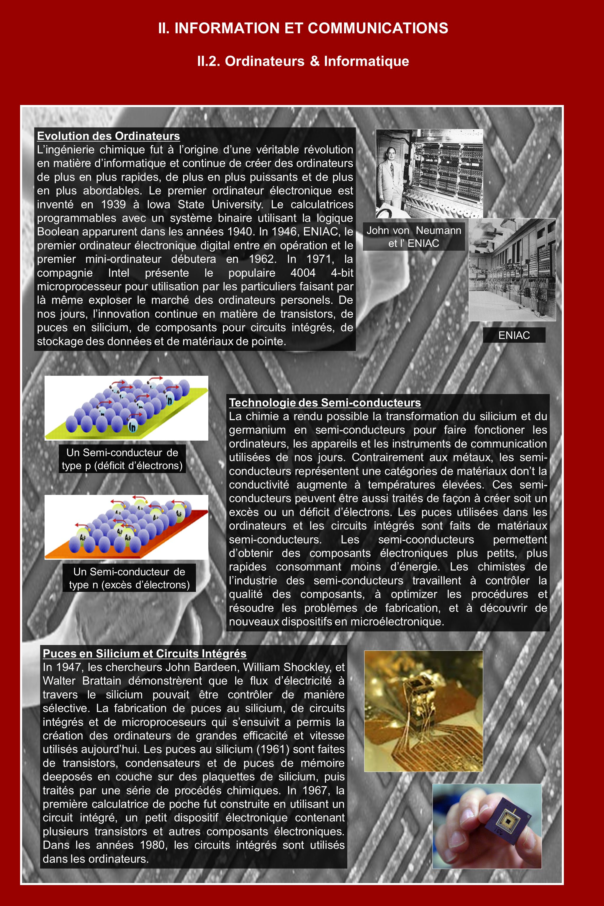Evolution des Ordinateurs Lingénierie chimique fut à lorigine dune véritable révolution en matière dinformatique et continue de créer des ordinateurs de plus en plus rapides, de plus en plus puissants et de plus en plus abordables.