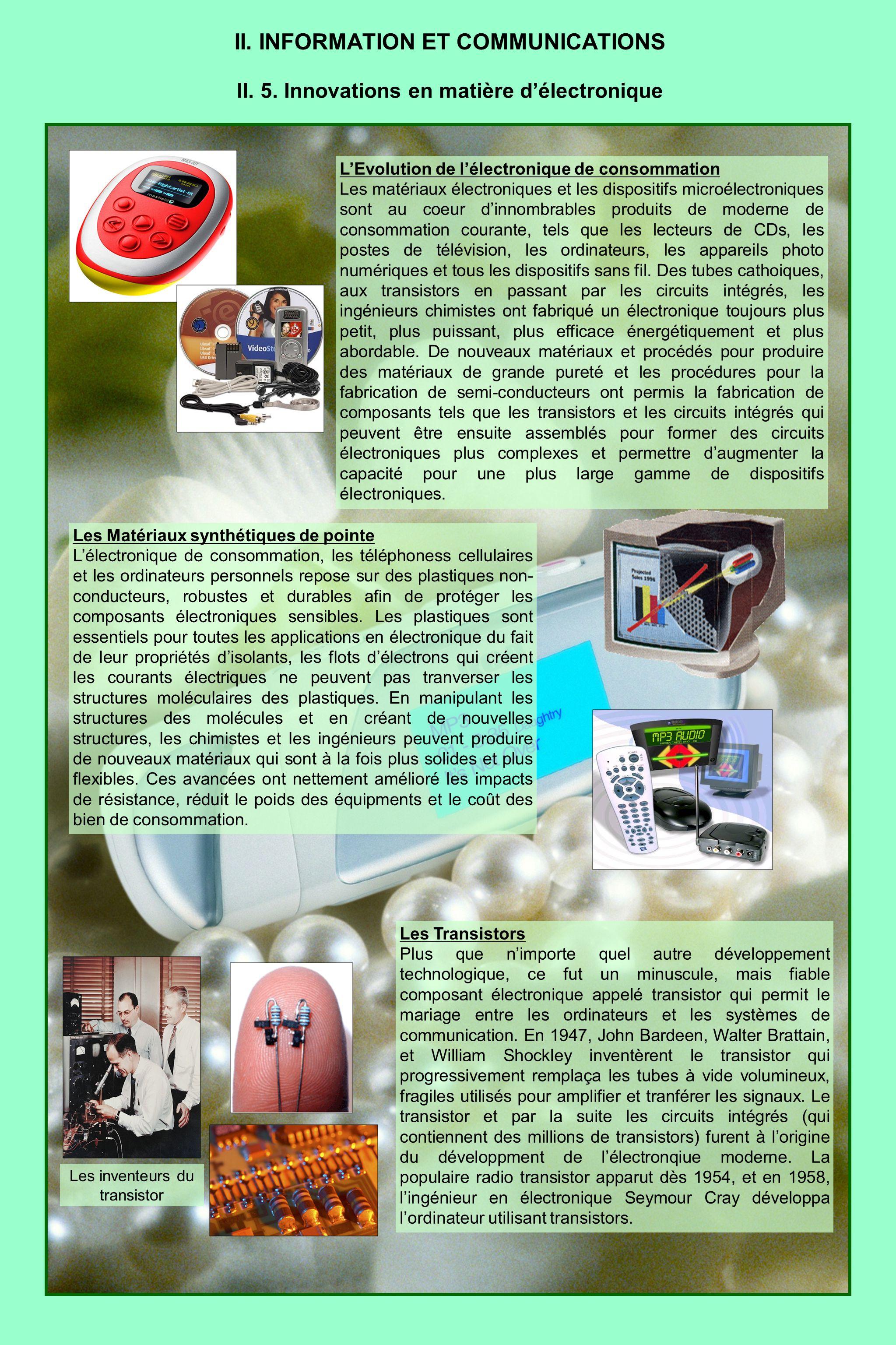 II. INFORMATION ET COMMUNICATIONS II. 5. Innovations en matière délectronique LEvolution de lélectronique de consommation Les matériaux électroniques