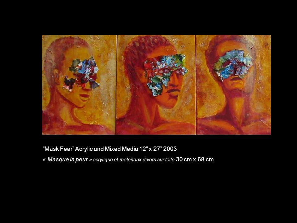 Mask Fear Acrylic and Mixed Media 12 x 27 2003 « Masque la peur » acrylique et matériaux divers sur toile 30 cm x 68 cm