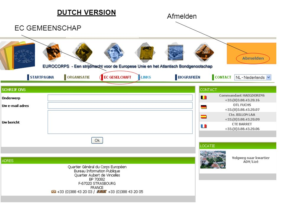 EC GEMEENSCHAP Afmelden DUTCH VERSION
