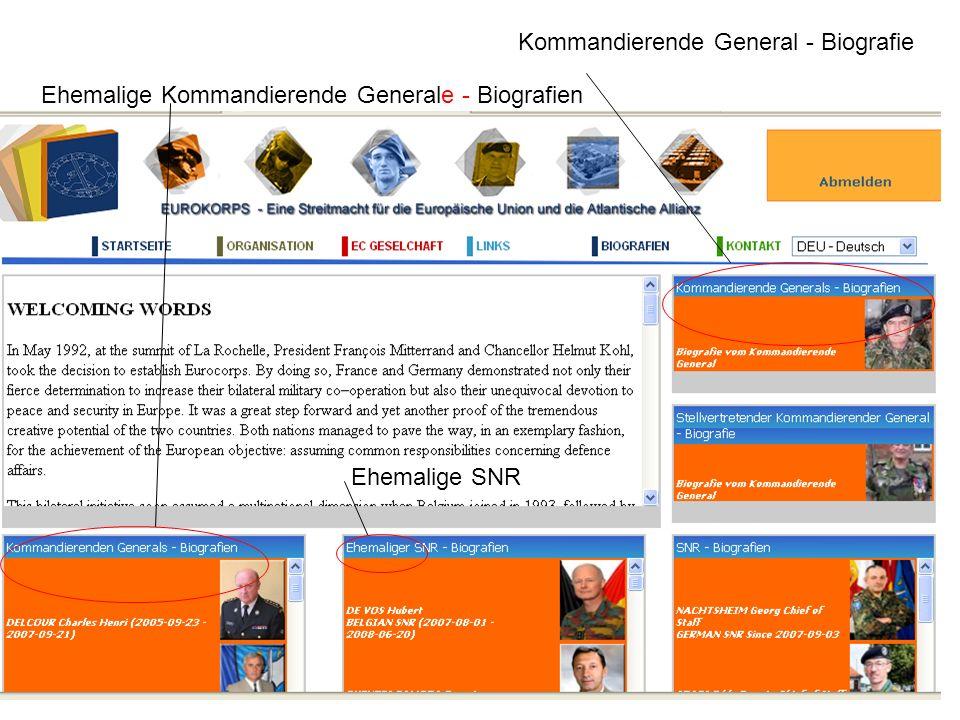 Kommandierende General - Biografie Ehemalige Kommandierende Generale - Biografien Ehemalige SNR