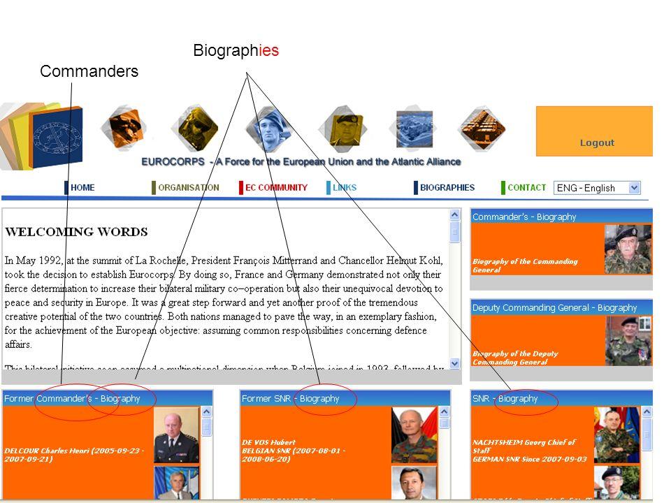 Biographies Commanders