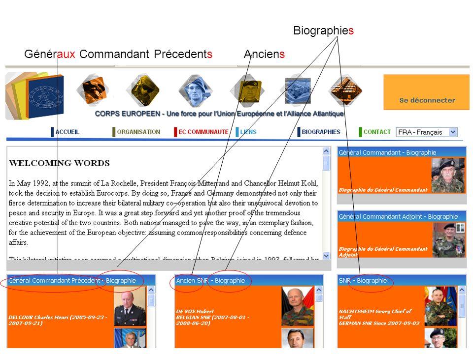 Biographies Généraux Commandant PrécedentsAnciens