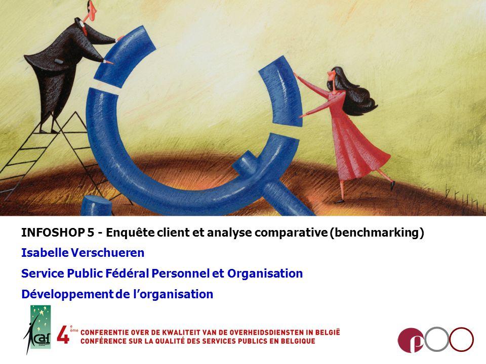 INFOSHOP 5 - Enquête client et analyse comparative (benchmarking) Isabelle Verschueren Service Public Fédéral Personnel et Organisation Développement de lorganisation