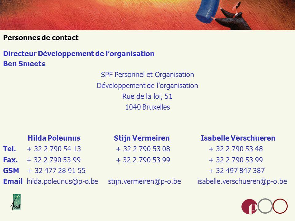 Personnes de contact Directeur Développement de lorganisation Ben Smeets SPF Personnel et Organisation Développement de lorganisation Rue de la loi, 51 1040 Bruxelles Hilda Poleunus Stijn Vermeiren Isabelle Verschueren Tel.