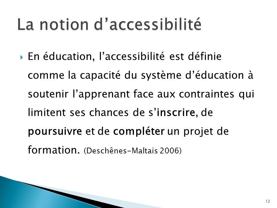 En éducation, laccessibilité est définie comme la capacité du système déducation à soutenir lapprenant face aux contraintes qui limitent ses chances de sinscrire, de poursuivre et de compléter un projet de formation.