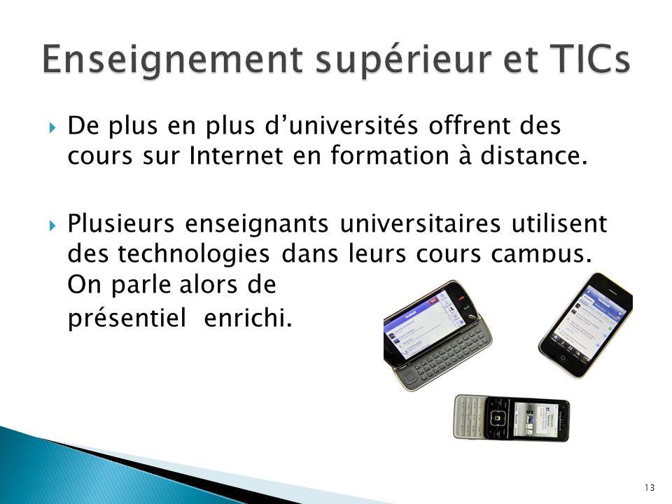 De plus en plus duniversités offrent des cours sur Internet en formation à distance.