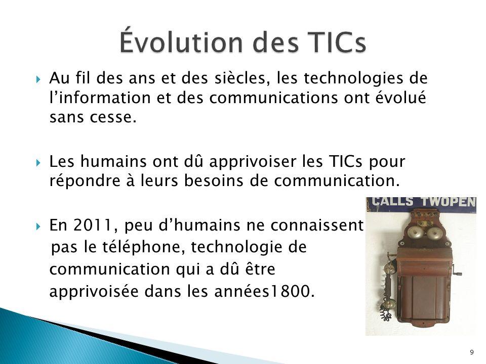 Au fil des ans et des siècles, les technologies de linformation et des communications ont évolué sans cesse.