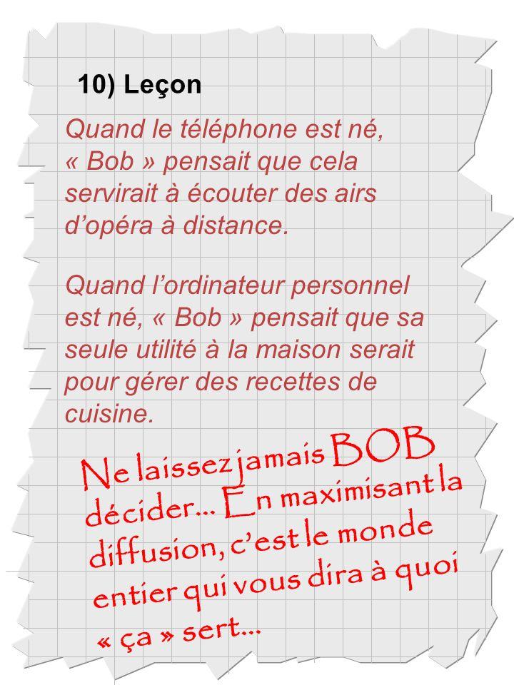 10) Leçon Quand le téléphone est né, « Bob » pensait que cela servirait à écouter des airs dopéra à distance.