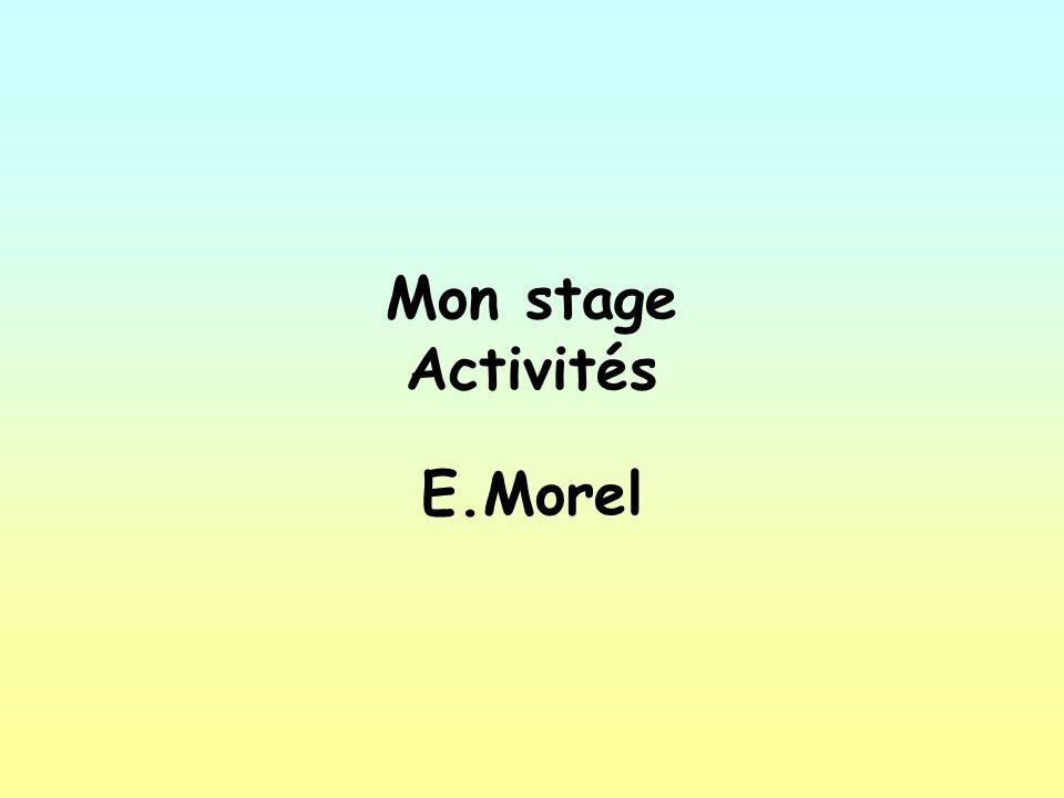 Mon stage Activités E.Morel