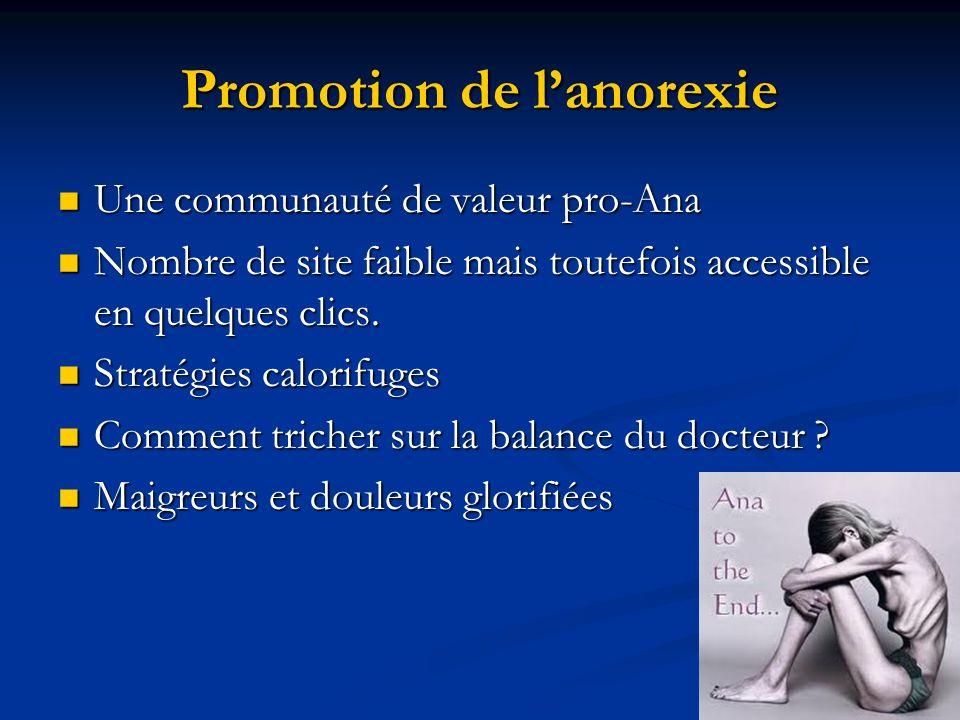Promotion de lanorexie Une communauté de valeur pro-Ana Une communauté de valeur pro-Ana Nombre de site faible mais toutefois accessible en quelques c