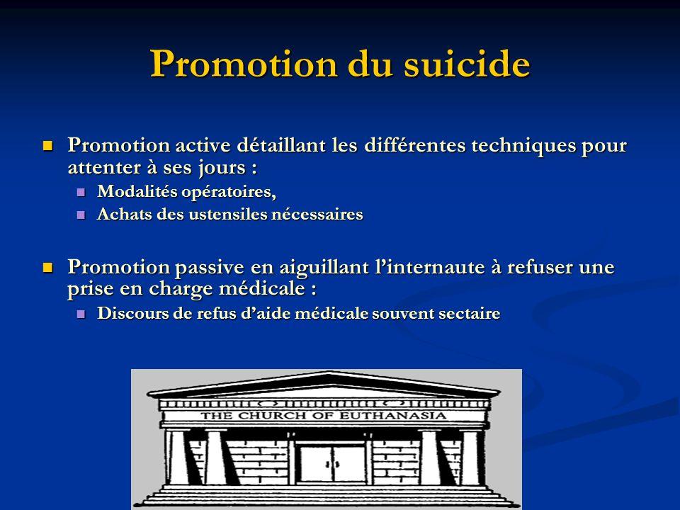Promotion du suicide Promotion active détaillant les différentes techniques pour attenter à ses jours : Promotion active détaillant les différentes te