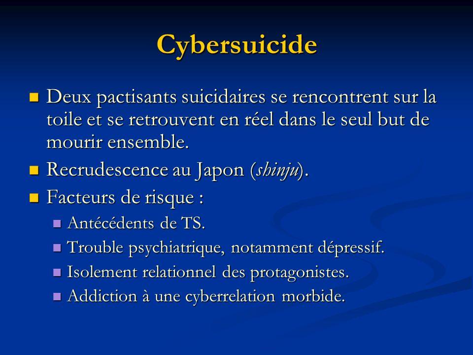 Cybersuicide Deux pactisants suicidaires se rencontrent sur la toile et se retrouvent en réel dans le seul but de mourir ensemble. Deux pactisants sui