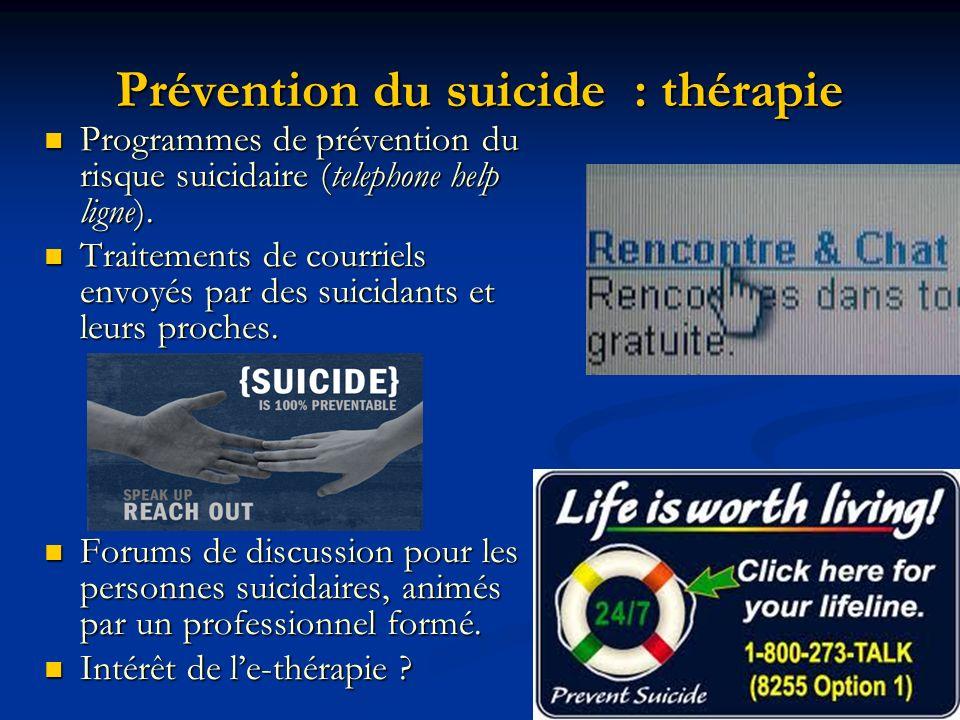 Prévention du suicide : thérapie Programmes de prévention du risque suicidaire (telephone help ligne). Programmes de prévention du risque suicidaire (