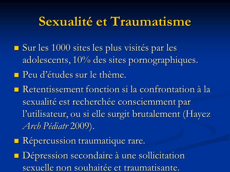 Sexualité et Traumatisme Sur les 1000 sites les plus visités par les adolescents, 10% des sites pornographiques. Sur les 1000 sites les plus visités p