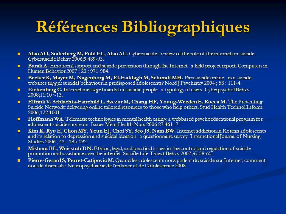 Références Bibliographiques Alao AO, Soderberg M, Pohl EL, Alao AL. Cybersuicide : review of the role of the internet on suicide. Cybersuicide Behav 2