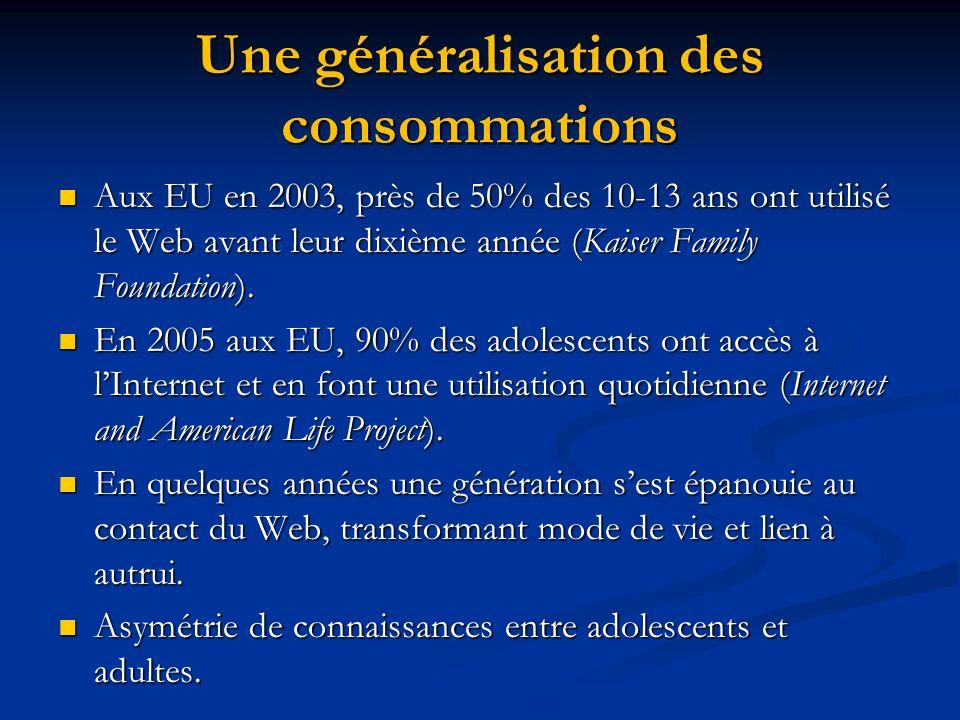 Une généralisation des consommations Aux EU en 2003, près de 50% des 10-13 ans ont utilisé le Web avant leur dixième année (Kaiser Family Foundation).