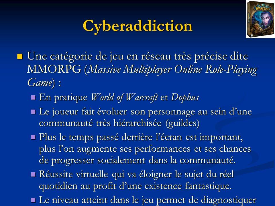 Cyberaddiction Une catégorie de jeu en réseau très précise dite MMORPG (Massive Multiplayer Online Role-Playing Game) : Une catégorie de jeu en réseau