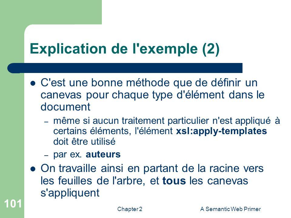 Chapter 2A Semantic Web Primer 101 Explication de l'exemple (2) C'est une bonne méthode que de définir un canevas pour chaque type d'élément dans le d