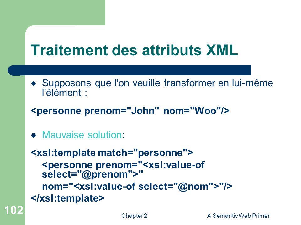 Chapter 2A Semantic Web Primer 102 Traitement des attributs XML Supposons que l'on veuille transformer en lui-même l'élément : Mauvaise solution: