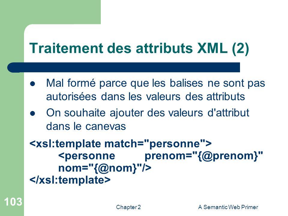 Chapter 2A Semantic Web Primer 103 Traitement des attributs XML (2) Mal formé parce que les balises ne sont pas autorisées dans les valeurs des attrib