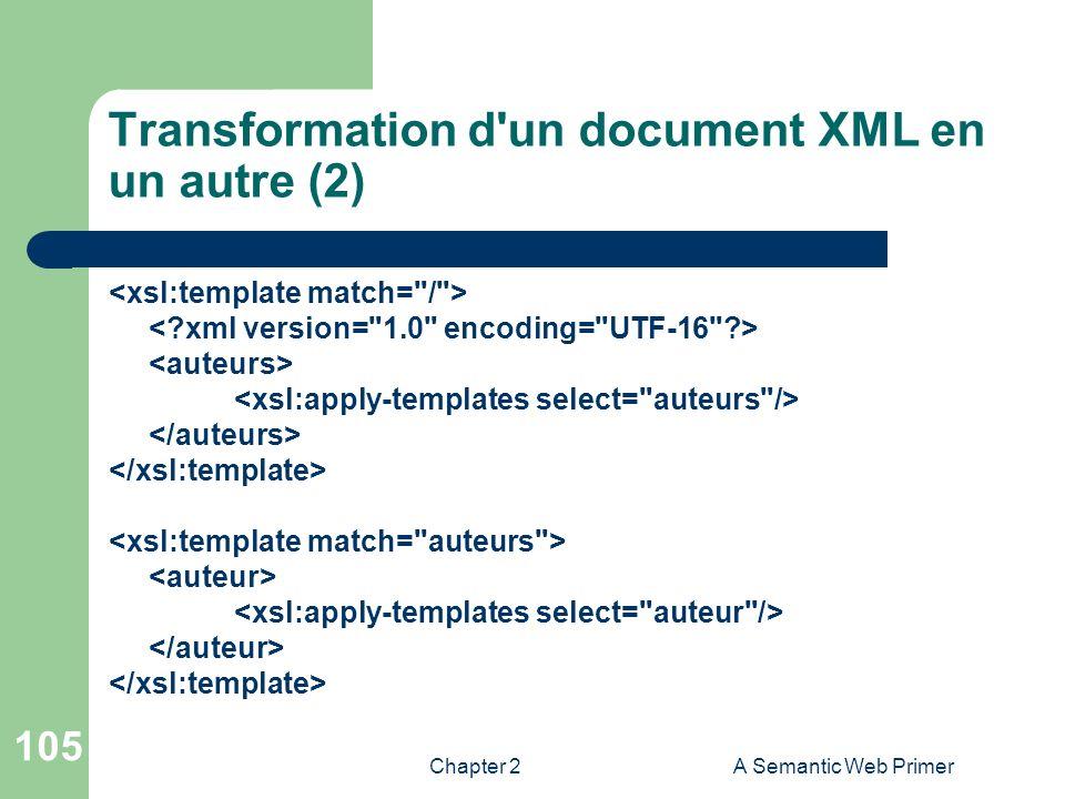 Chapter 2A Semantic Web Primer 105 Transformation d'un document XML en un autre (2)