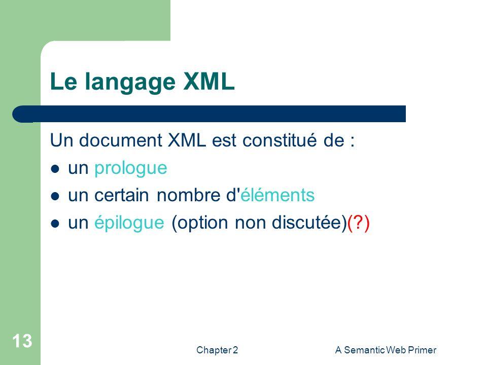 Chapter 2A Semantic Web Primer 13 Le langage XML Un document XML est constitué de : un prologue un certain nombre d'éléments un épilogue (option non d