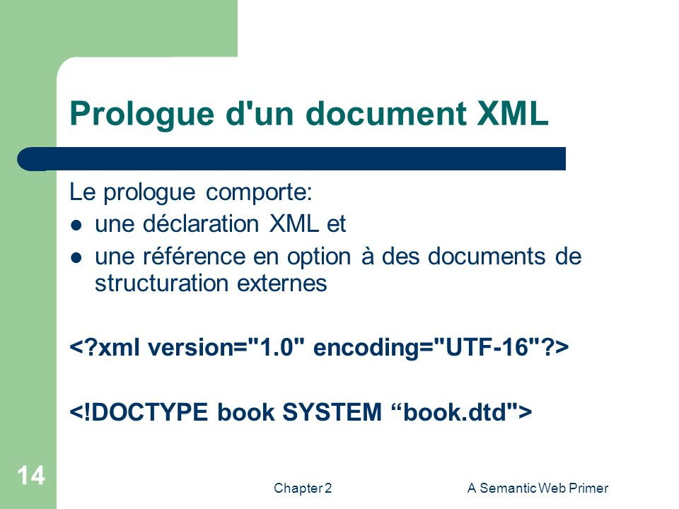 Chapter 2A Semantic Web Primer 14 Prologue d'un document XML Le prologue comporte: une déclaration XML et une référence en option à des documents de s