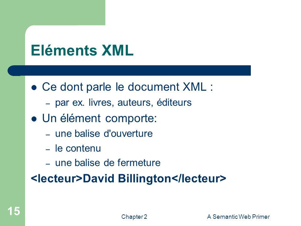 Chapter 2A Semantic Web Primer 15 Eléments XML Ce dont parle le document XML : – par ex. livres, auteurs, éditeurs Un élément comporte: – une balise d