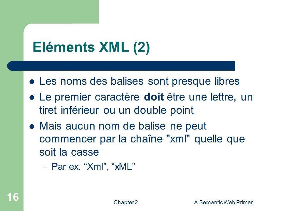 Chapter 2A Semantic Web Primer 16 Eléments XML (2) Les noms des balises sont presque libres Le premier caractère doit être une lettre, un tiret inféri