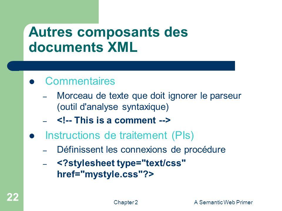 Chapter 2A Semantic Web Primer 22 Autres composants des documents XML Commentaires – Morceau de texte que doit ignorer le parseur (outil d'analyse syn