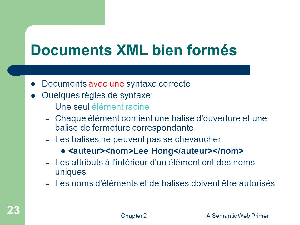 Chapter 2A Semantic Web Primer 23 Documents XML bien formés Documents avec une syntaxe correcte Quelques règles de syntaxe: – Une seul élément racine