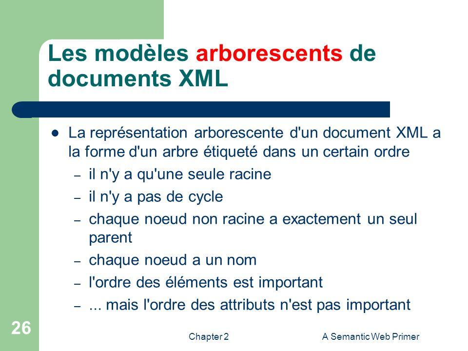 Chapter 2A Semantic Web Primer 26 Les modèles arborescents de documents XML La représentation arborescente d'un document XML a la forme d'un arbre éti