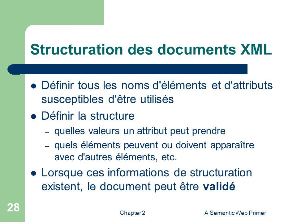 Chapter 2A Semantic Web Primer 28 Structuration des documents XML Définir tous les noms d'éléments et d'attributs susceptibles d'être utilisés Définir