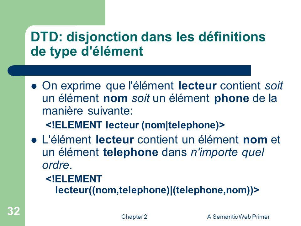 Chapter 2A Semantic Web Primer 32 DTD: disjonction dans les définitions de type d'élément On exprime que l'élément lecteur contient soit un élément no