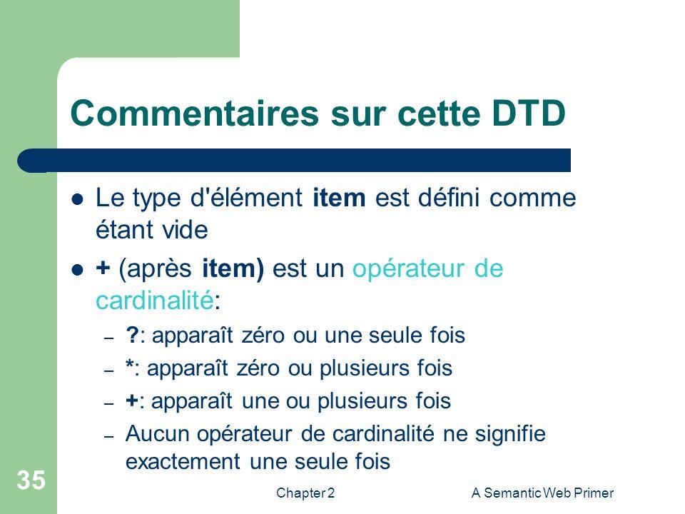 Chapter 2A Semantic Web Primer 35 Commentaires sur cette DTD Le type d'élément item est défini comme étant vide + (après item) est un opérateur de car