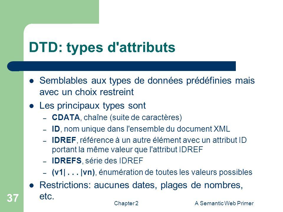 Chapter 2A Semantic Web Primer 37 DTD: types d'attributs Semblables aux types de données prédéfinies mais avec un choix restreint Les principaux types