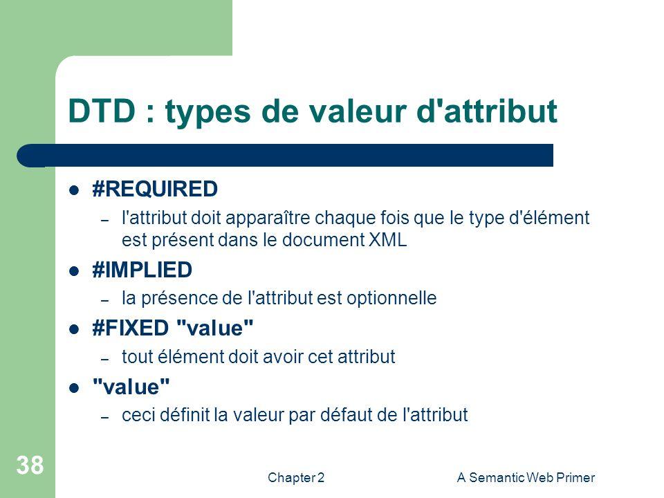 Chapter 2A Semantic Web Primer 38 DTD : types de valeur d'attribut #REQUIRED – l'attribut doit apparaître chaque fois que le type d'élément est présen