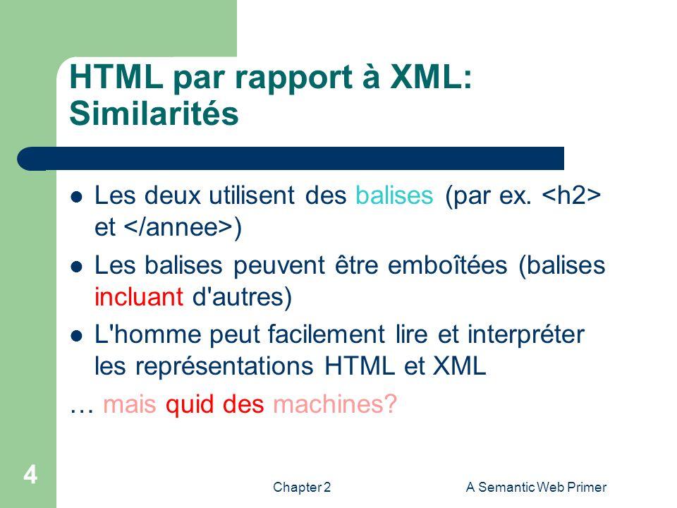 Chapter 2A Semantic Web Primer 4 HTML par rapport à XML: Similarités Les deux utilisent des balises (par ex. et ) Les balises peuvent être emboîtées (