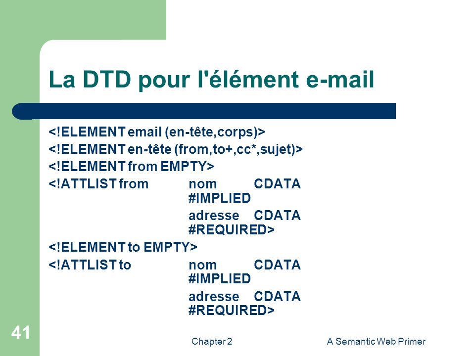 Chapter 2A Semantic Web Primer 41 La DTD pour l'élément e-mail <!ATTLIST fromnom CDATA #IMPLIED adresseCDATA #REQUIRED> <!ATTLIST tonom CDATA #IMPLIED
