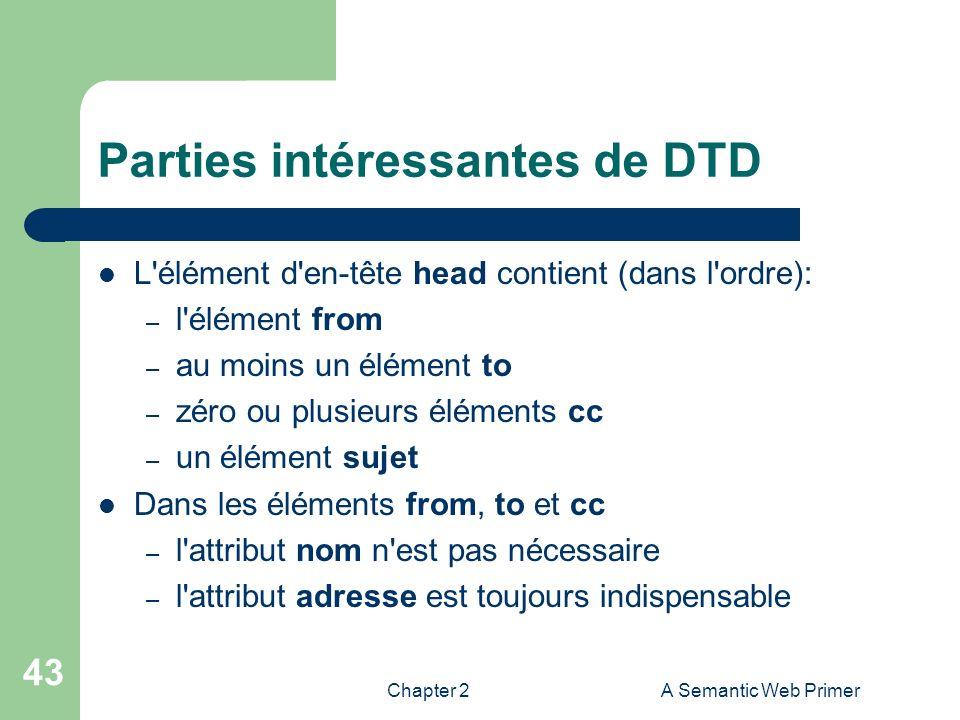 Chapter 2A Semantic Web Primer 43 Parties intéressantes de DTD L'élément d'en-tête head contient (dans l'ordre): – l'élément from – au moins un élémen