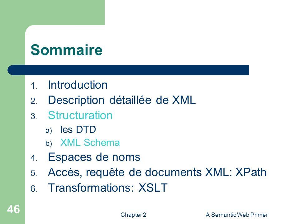 Chapter 2A Semantic Web Primer 46 Sommaire 1. Introduction 2. Description détaillée de XML 3. Structuration a) les DTD b) XML Schema 4. Espaces de nom