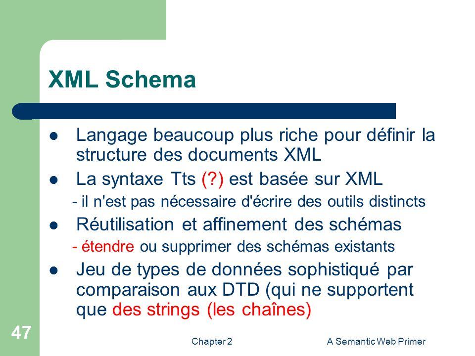 Chapter 2A Semantic Web Primer 47 XML Schema Langage beaucoup plus riche pour définir la structure des documents XML La syntaxe Tts (?) est basée sur